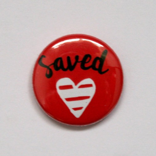 Saved Red With Heart Pin Badge