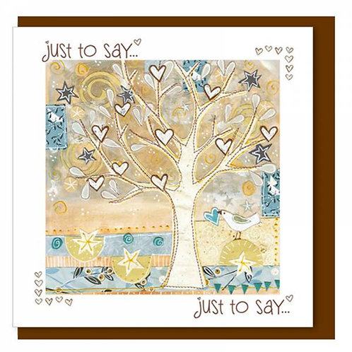 Just To Say Tree of Love Hearts Christian Greetings Card