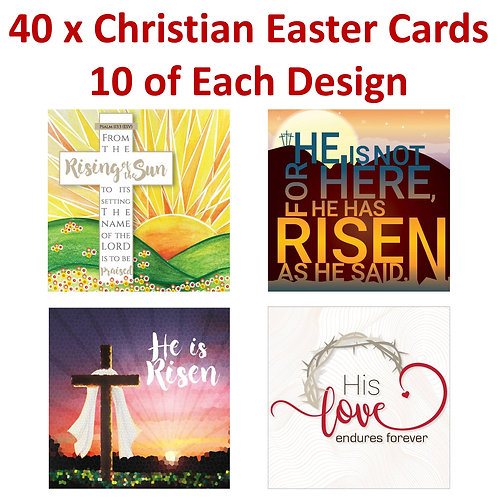 40 x Christian Easter Greetings Cards with Bible Verse 10 of Each Design