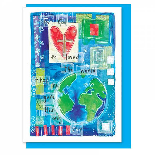 For God So Loved The World Watercolour Christian Greetings Card