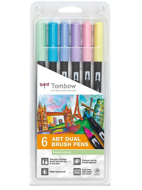 Tombow ABT Dual Brush Pens Set of 6 Pastel Colours
