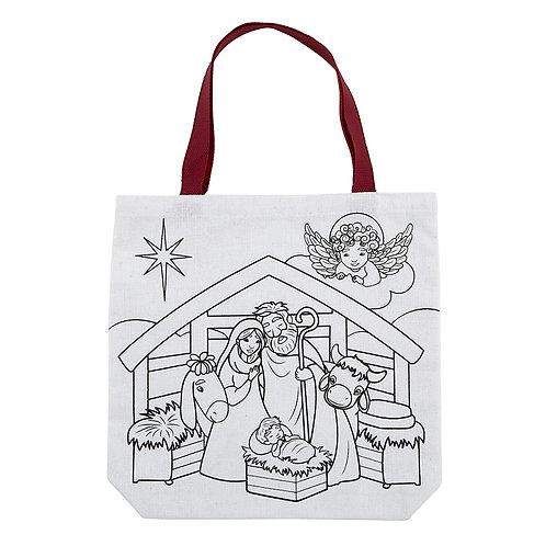 God's Greatest Gift Colour Your Own Nativity Scene Christmas Children's Tote Bag