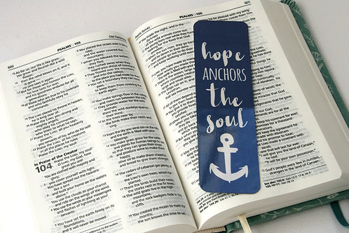 Hope Anchors The Soul Blue Mini Metal Bookmark