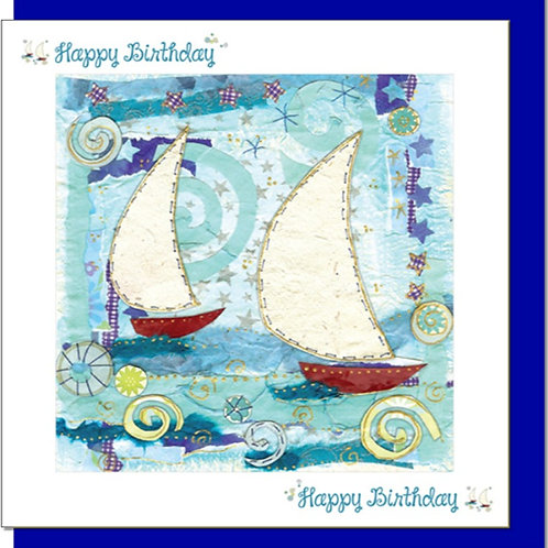 Happy Birthday Two Sailing Boats Christian Greetings Card