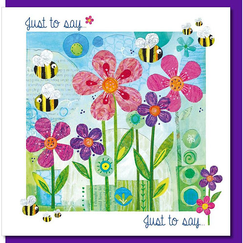 Just To Say Pink Flowers with Bees Christian Greetings Card