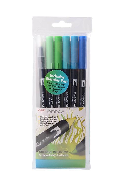Tombow ABT Dual Brush Pens Set of 6 Ocean Colours