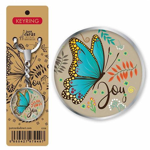 Joy Butterfly Christian Keyring