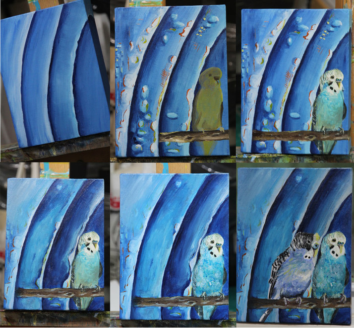 A Preview of a Painting in Progress - Parakeets