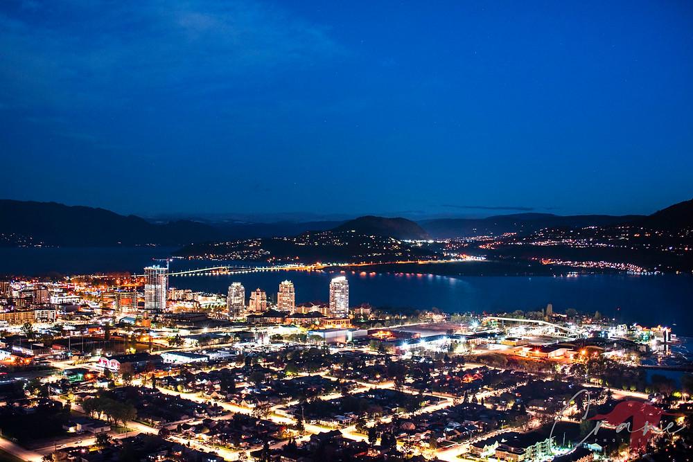Cityscape of Kelowna at night from Knox Mountain