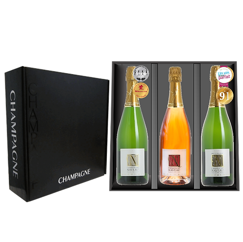 COFFRET TRILOGIE HARMONIE - MELODIE - SYMPHONIE Brut 1er Cru Best Champagne Naveau Gift Box