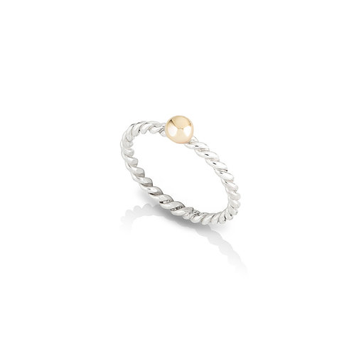 Yellow Gold Molten Ball Twisted Band Ring
