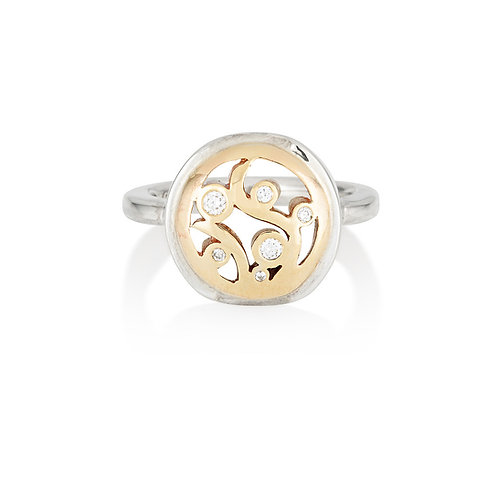 Two Tone Scroll Ring