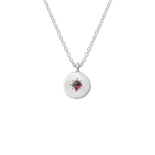Silver and Garnet Star Set Necklace