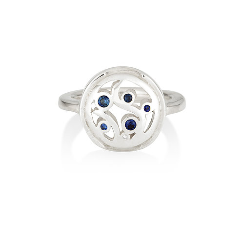 Silver and Sapphire Scroll Ring