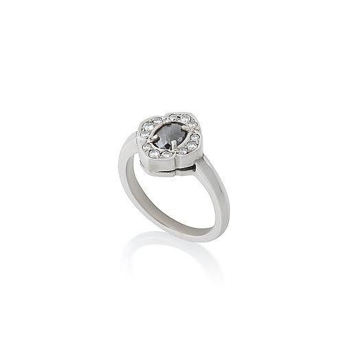 Grey Diamond Lotus Ring