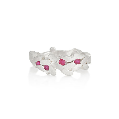 Silver and Ruby Laurel Ring