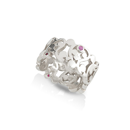 Silver and Ruby Scroll Band