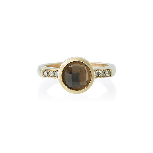 Smoky Quartz and Champagne Diamond Ring