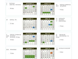 2021-2022 Calendar has been Approved!