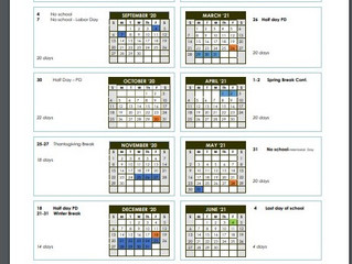 Calendar for 2020-21 Approved!