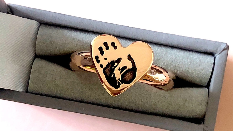 rose gold ring with handprint