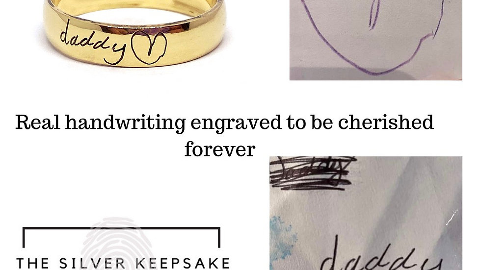 Real handwriting ring in 9ct gold