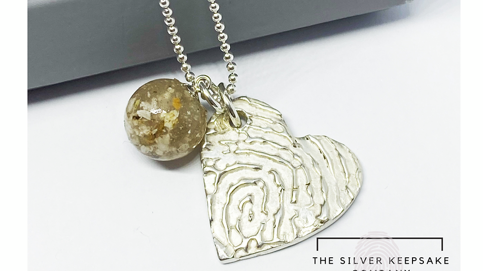 fingerprint necklace with cremation ashes pearl