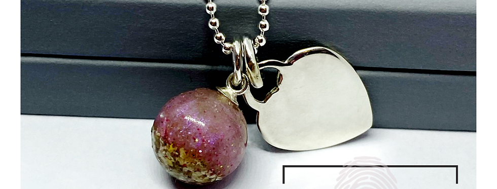 silver heart and cremation ashes necklace