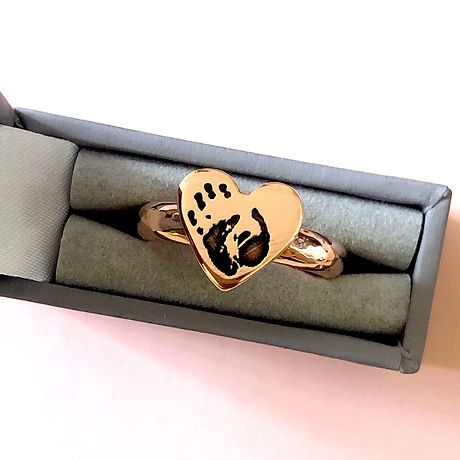 personalised rose gold ring with genuine handprint