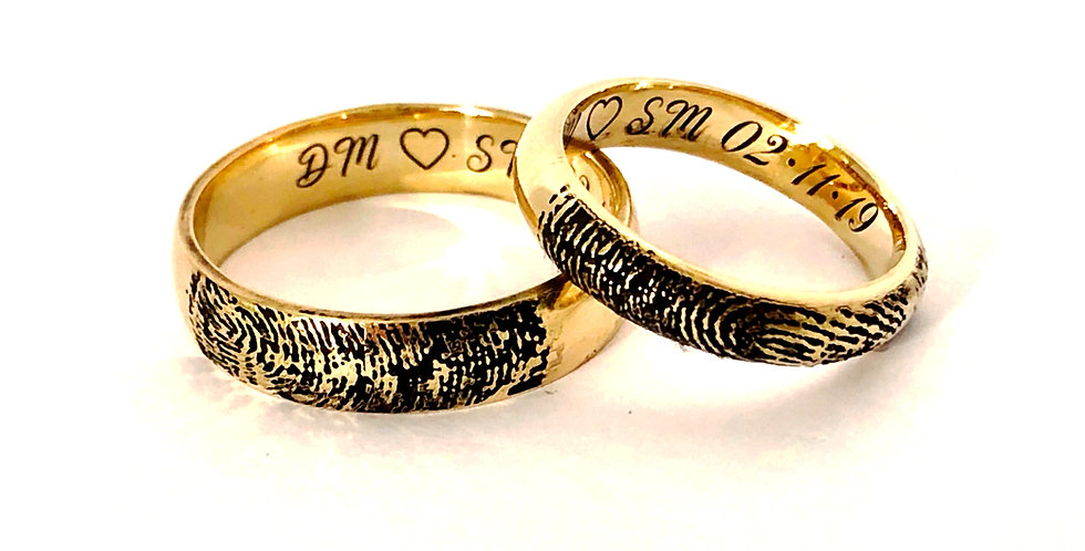 personalised gold wedding bands
