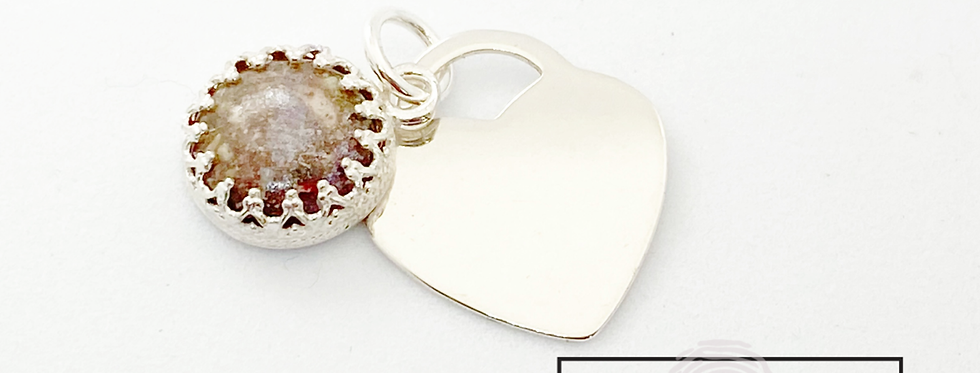 Cremation ash and heart necklace