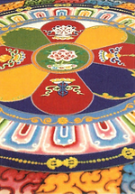 Buddhist monks create a sand mandala on the Brown campus.