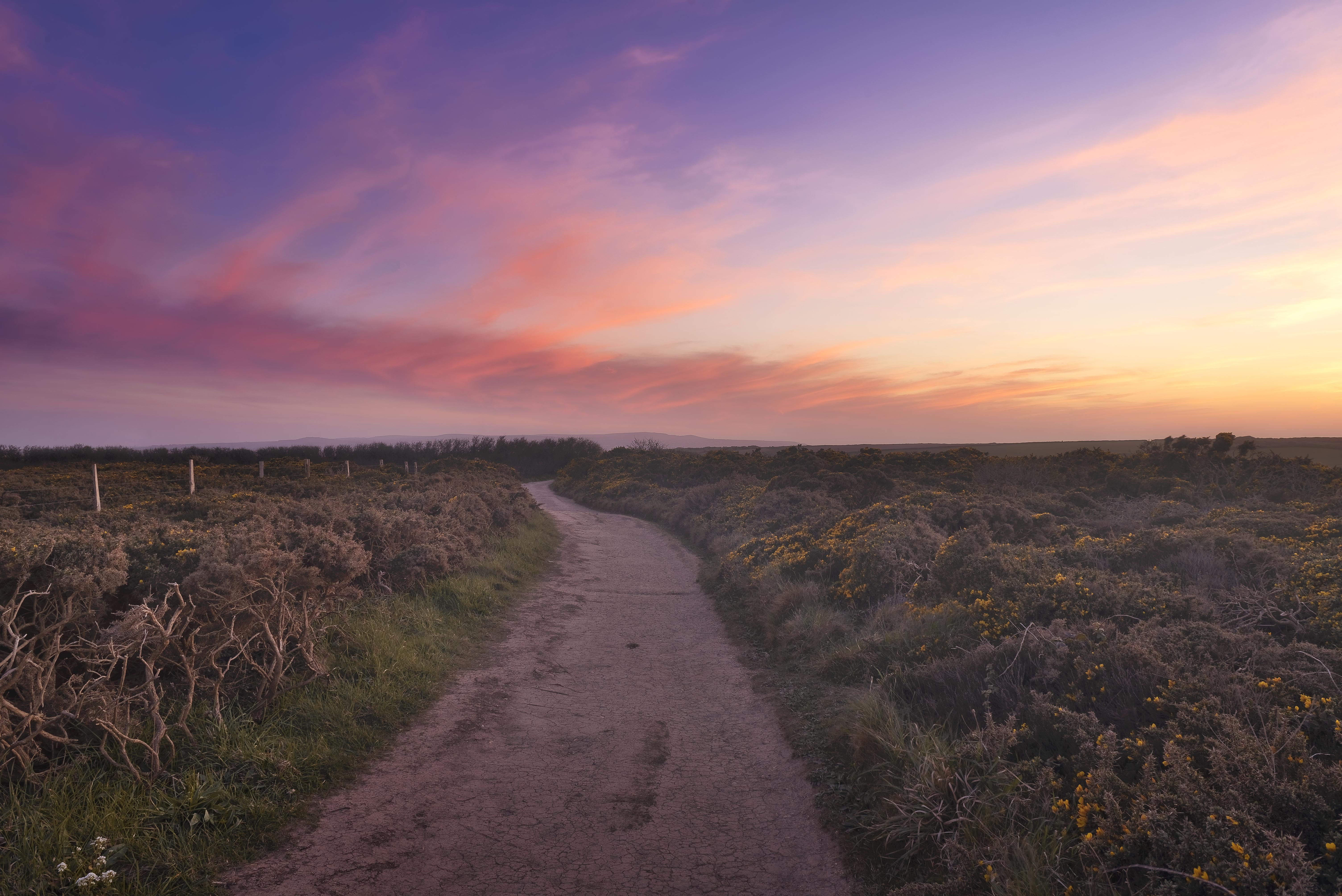 Coucher de soleil rose - Cornouailles