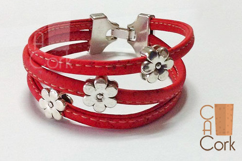 Bracelet 3 red cork wires with flower beads