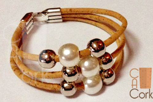 Bracelet 3 cork wires with 6 Beads