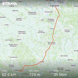 from Angouleme to Montguyon (France)