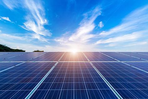 power solar panel on blue sky background
