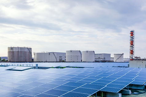 industrial buildings and solar panels. r