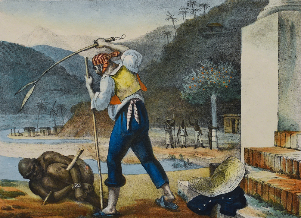 A slave in 19th century Brazil being punished by a white overseer. This piece was made by Jean-Baptise Debret. (Art Source: Jean Baptise Debret)