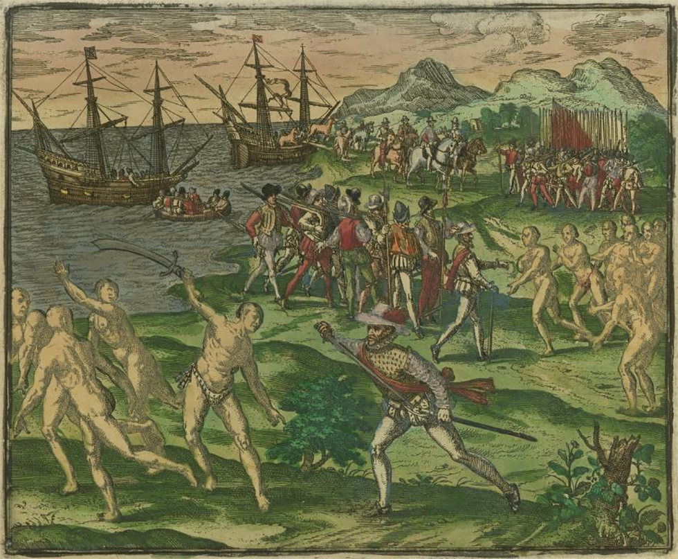 Native Americans in Mexico being captured and trying to flee from Spanish Conquistadors in 1595. The Spanish colonists were led by Francisco de Montejo. (Image Source: Brown University)