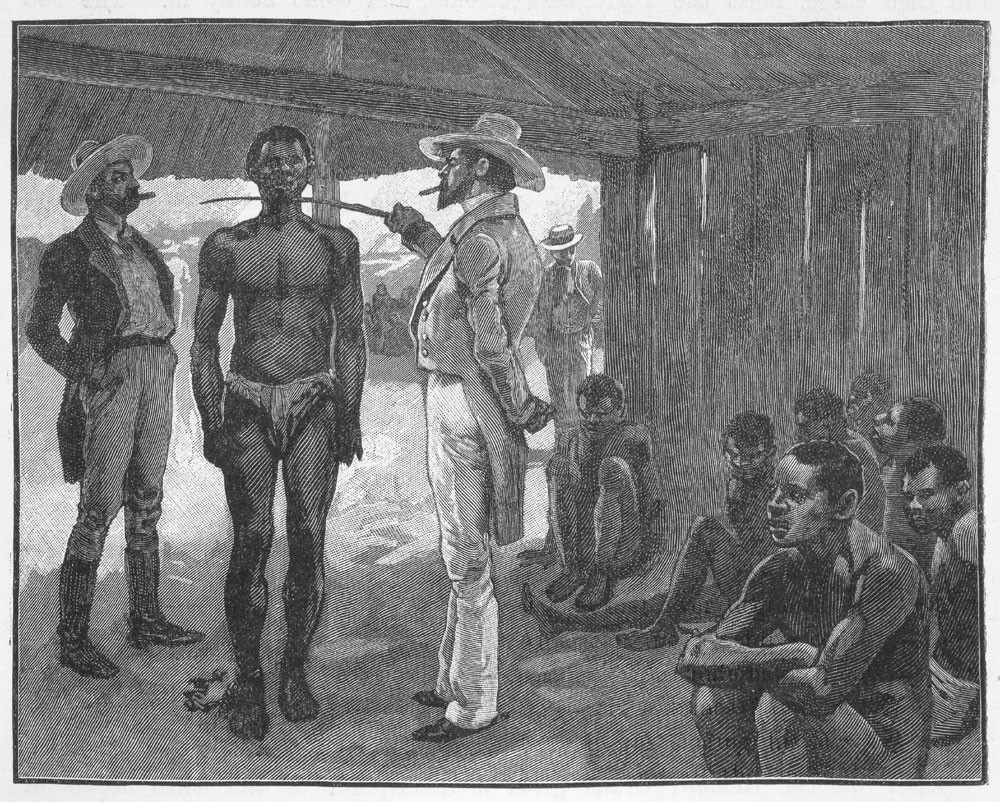 An illegal slave auction occurring in Havana, Cuba in 1837. An auctioneer is pictured letting a potential buyer take measurements of the slaves. (Image Source: Listen2Read)