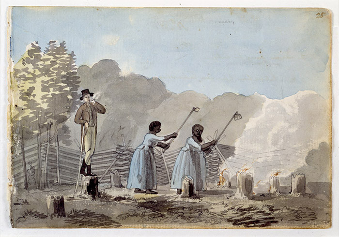 "Two slave women doing labor under the eye of an overseer. This exact image is said to have ""taken place"" at the end of the 18th century. (Image Source: Canadian Museum Of History)"