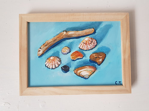 A6 Original Framed Painting- Sea Treasures Acrylic on Board