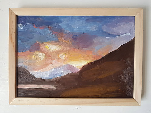 A5 Framed Oil painting- Snowdonia Sunset