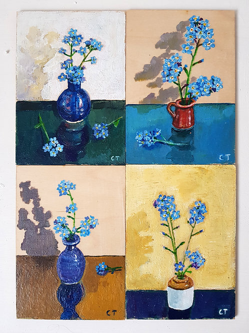 Set of 4 A6 painting studies Forget me not set