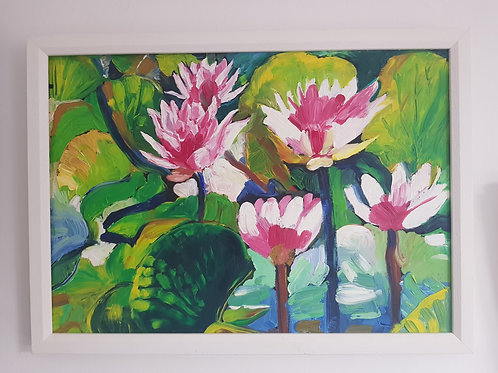 A3 Framed Oil Painting - Water Lillies