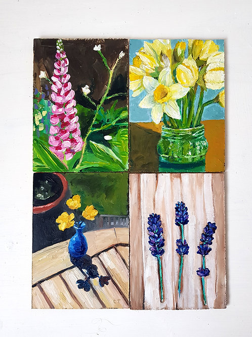 Set of 4 original A6 painting studies- Garden Treasures