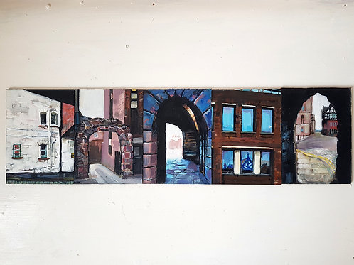 Set of 5 A6 painting studies- Chester viewpoints