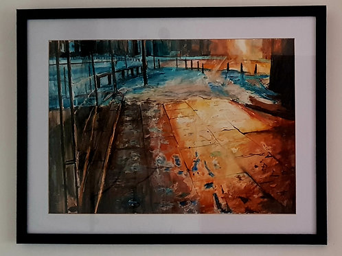 A2 Ink, watercolour acrylic on paper conservation framed (NFS)