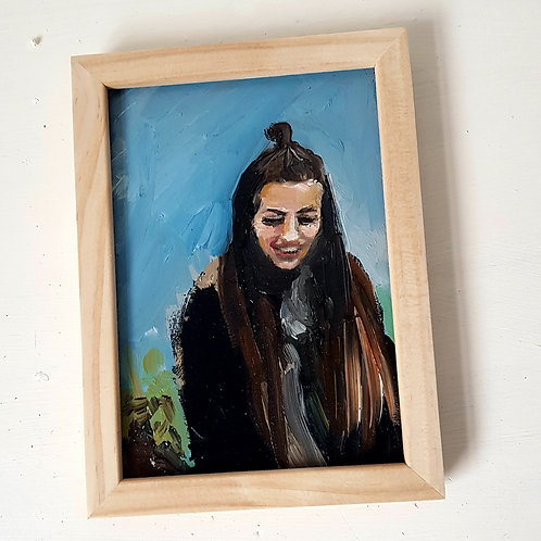 A6 Framed Oil Sketch Portrait COMMISSION includes 1 figure